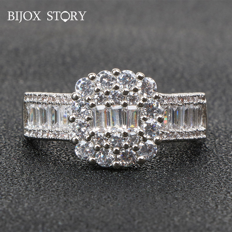BIJOX STORY elegant 925 sterling silver ring with square shaped zircon gemstone rings for female wedding anniversary party gifts