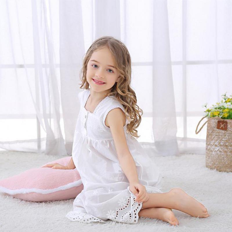 Toddle Girl White Nightdress Princess Dress Children Pajamas Nightgowns For Girls Kids Night Dress Girl Lace Sleeping Dress 2