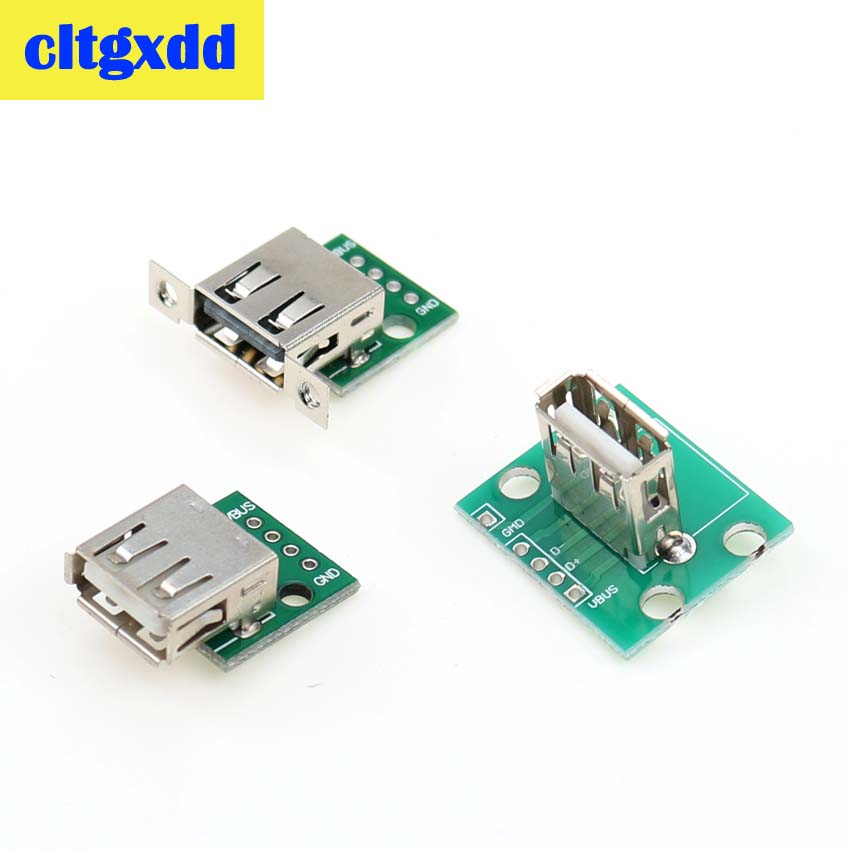 Cltgxdd Type A Female USB To DIP 2.54mm PCB Connector Female USB PCB Board DIY USB PCB Socket USB 2.0 Connector