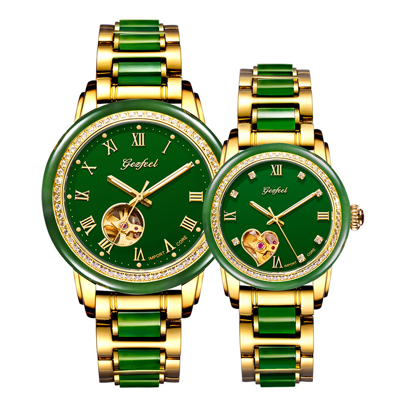 2019 Time-limited Rushed To Set Auger Couple Watches Hetian Jade Mechanical Automatic Watches, Hollow Out