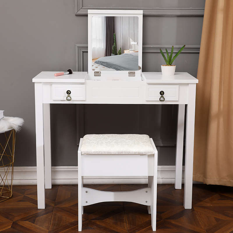 US Warehouse Vanity Desk Dressing Table White Vanity Set Makeup Desk With Stool Bedroom Furniture Makeup Set