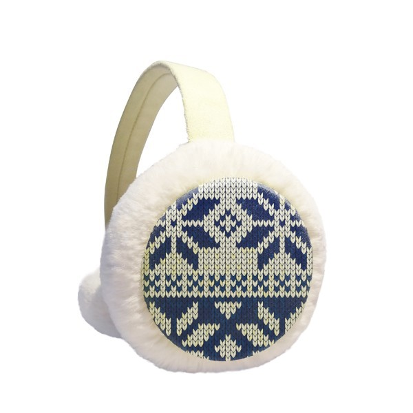 Snowflake Quadrilateral Nordic Illustration Pattern Winter Earmuffs Ear Warmers Faux Fur Foldable Plush Outdoor Gift