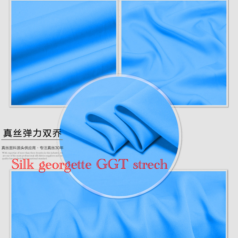 Silk Fabrics For Dresses Blouse Wedding Clothing 1.08 Meter 100% Pure Silk Georgette GGT Strech Double 19 Mill High Quality