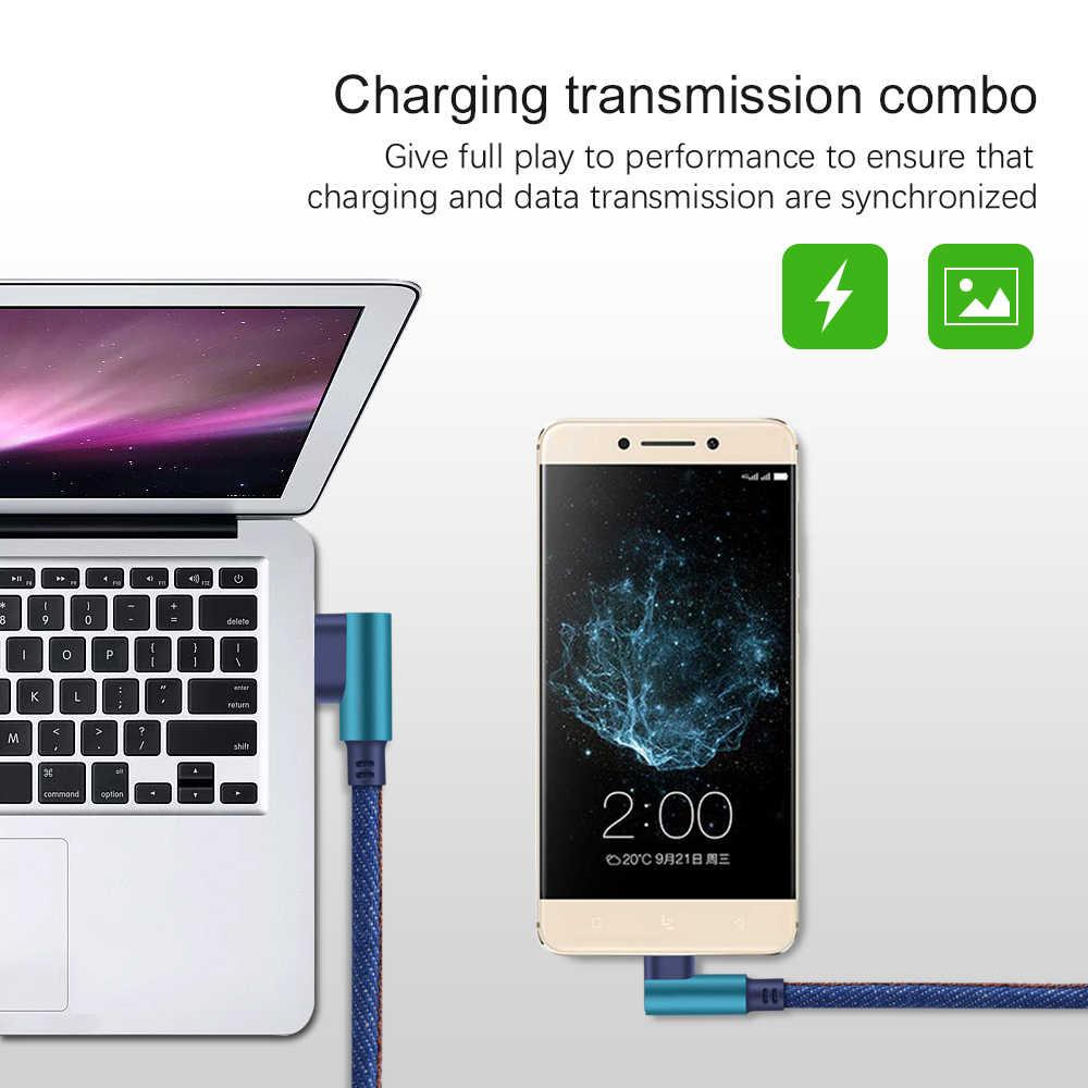 マイクロ USB ケーブル高速充電コード 2.4A 90 度マイクロケーブルサムスン Xiaomi の Android マイクロ Usb 携帯電話のデータケーブル