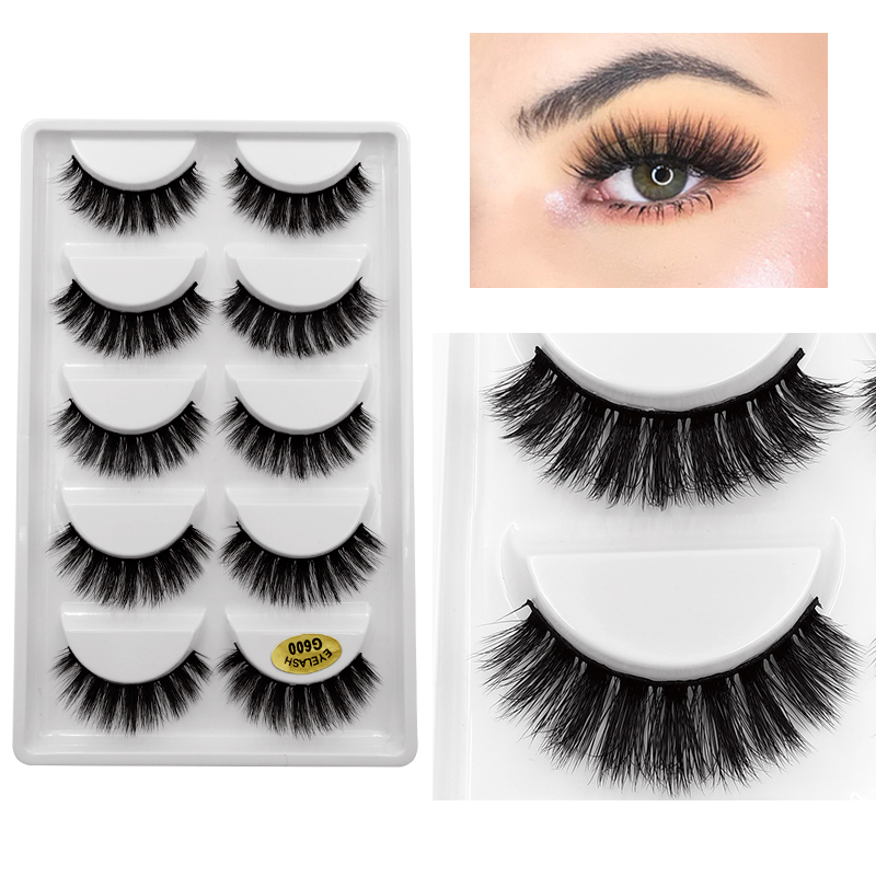 New 5 Pairs Eyelashes Hand Made 3d Mink Lashes Natural Long Soft Mink Eyelashes Full Strip Lashes Makeup False Eyelashes Cilios