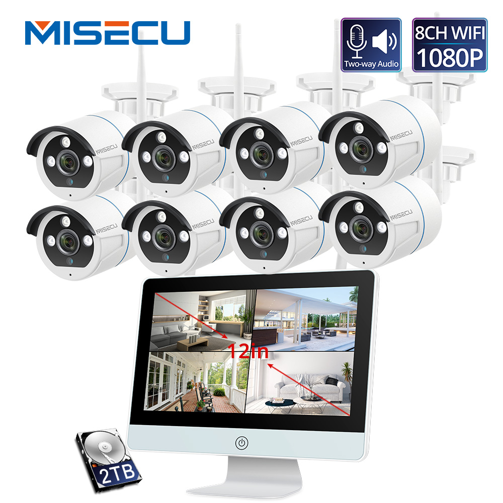 MISECU Video Surveillance Kit 1080P WIFI CCTV System 12-inch Monitor NVR Security CCTV Camera Two Way Audio Outdoor Night Vision