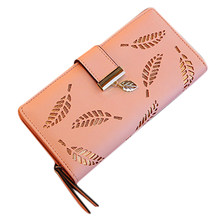 New Women Wallets Leaf Leather Zipper Wallet Lady Long Design Purse Hasp Clutch Credit Card Holder Wallet Carteira Feminina#35(China)