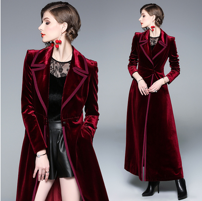 New 2019 Winter Runway Designer Women Vintage Notched Collar Wrap Black Velvet Maxi Coat Thick Warm Long Trench Coat Outwear