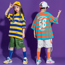 Kid Hip Hop Clothing Long Striped Oversized T Shirt Top Streetwear White Summer Cargo Shorts for Girls Boy Dance Costume Clothes