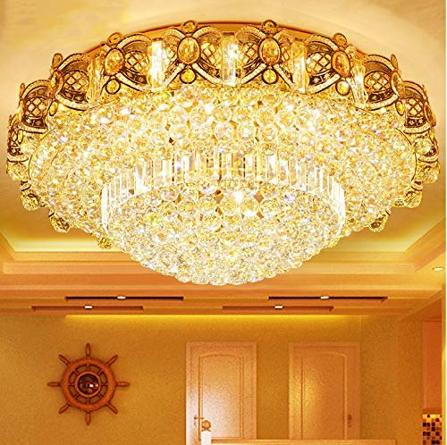 Modern K9 Crystal Gold Chandelier Flush Mount LED Ceiling Lamp Pendant Light Fixture for Living Room Dining Room