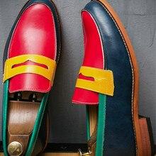 Shoe Men Loafers Handmade Wedding Formal Fashion Mens Plus Patchwork