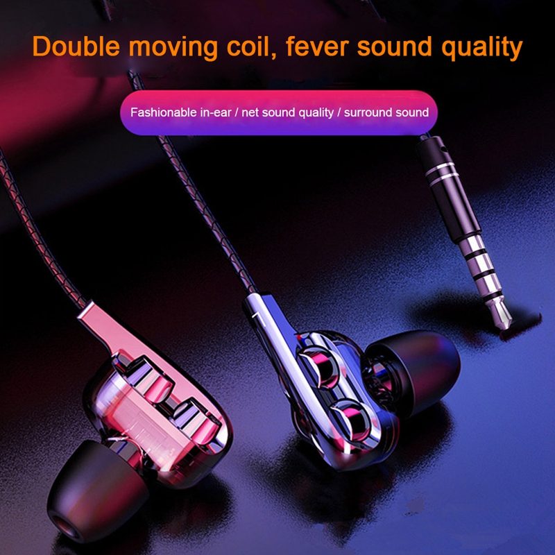 High Bass Headsets Dual Drive Stereo Subwoofer Noise Isolating Wired Sports Earphone With Mic For Iphone Huawei Xiaomi