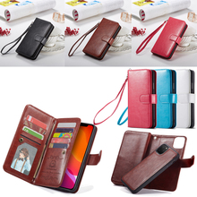 2 In 1 manyetik pu deri cüzdan kılıf Apple iPhone 11 Pro Max X Xs Xr 8 7 6 6S artı 5 5s SE kart yuvaları Flip standı çantası