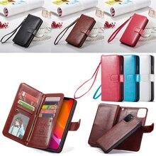 2 w 1 magnetyczna skóra poliuretanowa portfel etui na Apple iPhone 11 Pro Max X Xs Xr 8 7 6 6S plus 5 5S SE gniazda kart etui z klapką stań torba