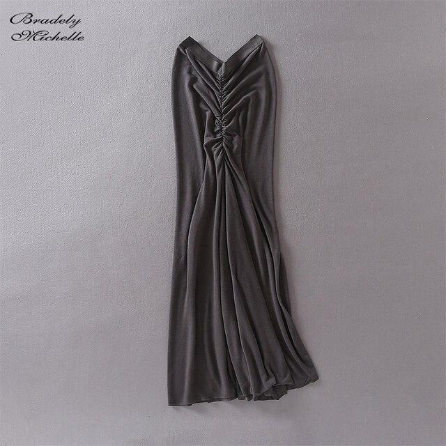 Fashion Women Summer Tight Bodycon Pleated Pencil Skirt  Solid Sexy Elastic High-Waist Long Skirt 4