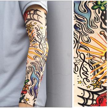Gorąco!!! 1Pc tymczasowy tatuaż odkryty jazda na rowerze lato ochrona przed słońcem rękaw rękaw ochrona UV oddychający rękaw rękaw Unisex tanie i dobre opinie Dla dorosłych NYLON Stałe Arm Sleeve Podgrzewacze ramię summer 38cm x 9cm Elastic Breathable UV Protection Fake Tattoo Design