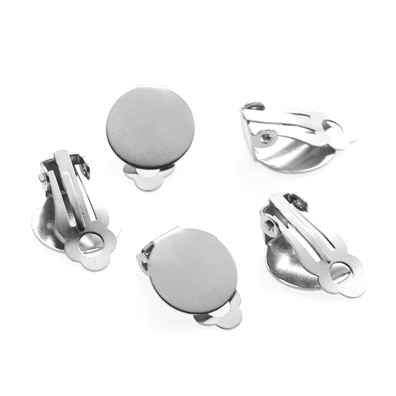 10pcs/lot Stainless Steel Round Flat Bezel Tray Earrings Clips 8 10 12 14mm Blank Earring Setting Components For DIY Making