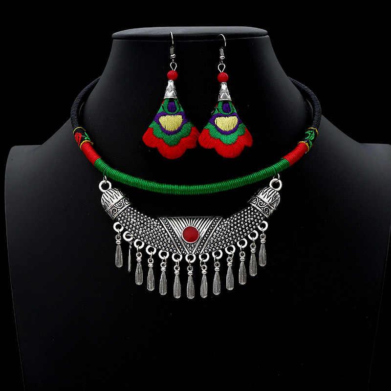 2019 Vintage bijoux ethniques seste fait à la main Antique argent collier ras du cou goutte boucles d'oreilles ensemble Boho Costumes accessoires