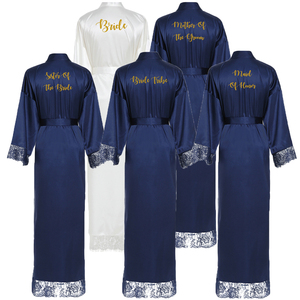 Image 3 - Owiter Long Silk Satin Robe Bridesmaid Robes w/ Lace Trim Robe Bridal Wedding Robe Sleepwear Bathrobe Long Gowns for Women Blue