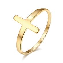 DOTIFI Fashion Hot klasyczny pierścionek ze stali nierdzewnej 316L stal krzyżyk złoty kolor srebrny biżuteria dziewczyna Party prezent na walentynki R259 tanie tanio STAINLESS STEEL Kobiety Metal TRENDY Obrączki ślubne cross moda Na imprezę Pierścionki Will Not Fade