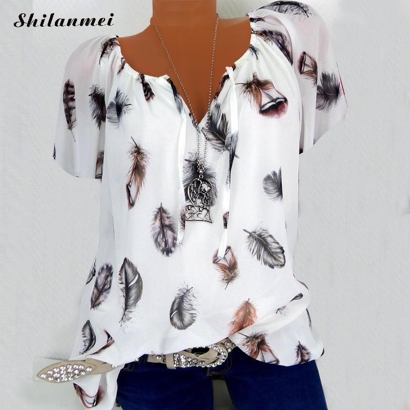 5XL Plus Large Size Women's Blouses Summer Tops New Leisure Blouse White Loose Feather Print V Neck Half Sleeve Shirts Blusas