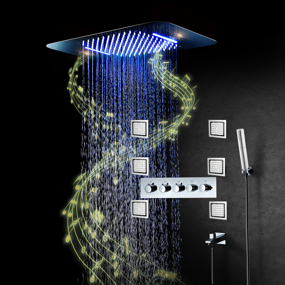 Bluetooth Musik LED Dusche Kopf Wasserhahn Regen Dusche Set Wasserfall Bad Wasserhahn Thermostat Verborgen Mischer Dusche Lautsprecher System