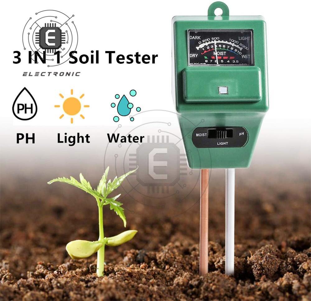 3 в 1 Цифровой измеритель уровня PH влажности почвы и солнечного света для растений, измерения кислотности цветов и влажности садовые инструменты Измерители pH      АлиЭкспресс