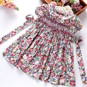 Image 3 - Smocked ドレス女の子のためのフロック手作りコットンベビー服の夏の子供ドレス刺繍パーティー休日の学校ブティック