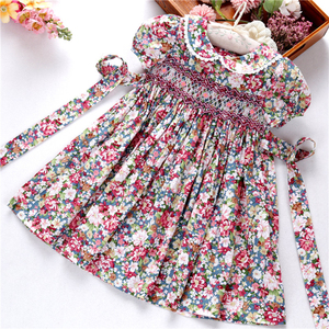 Image 3 - smocked dresses for girls frock handmade cotton baby clothes summer kids dress embroidery Party holiday school boutiques