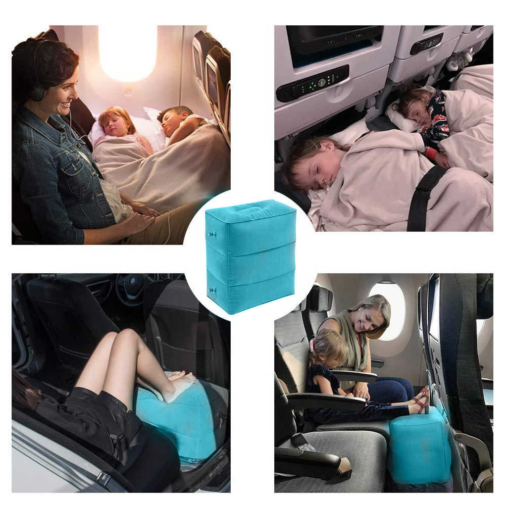 Inflatable Foot Rest Pillow Adjustable Height Portable Leg Rest Pillow Cushion Carrying Bag Airplane Home Car Office Foot A14