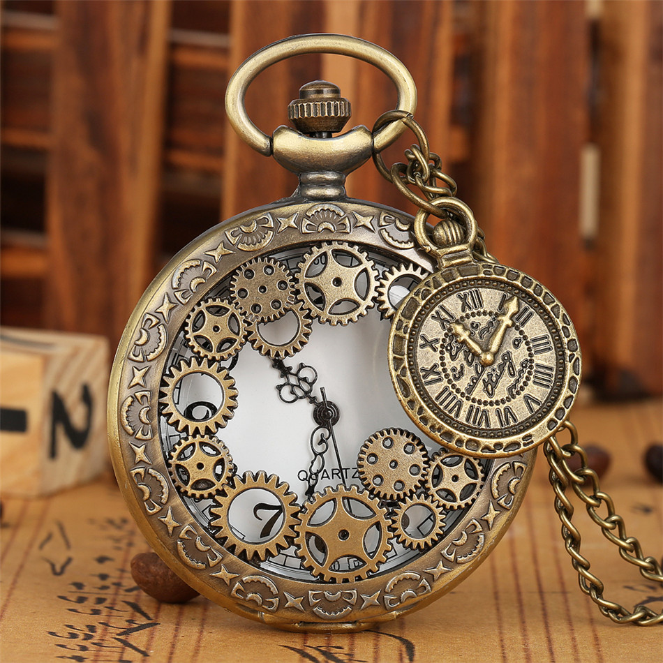 Hollow Gearwheel Half Hunter Quartz Pocket Watch Antique Bronze Necklace Watch With Pendant Jewelry Gift For Men Women Kids