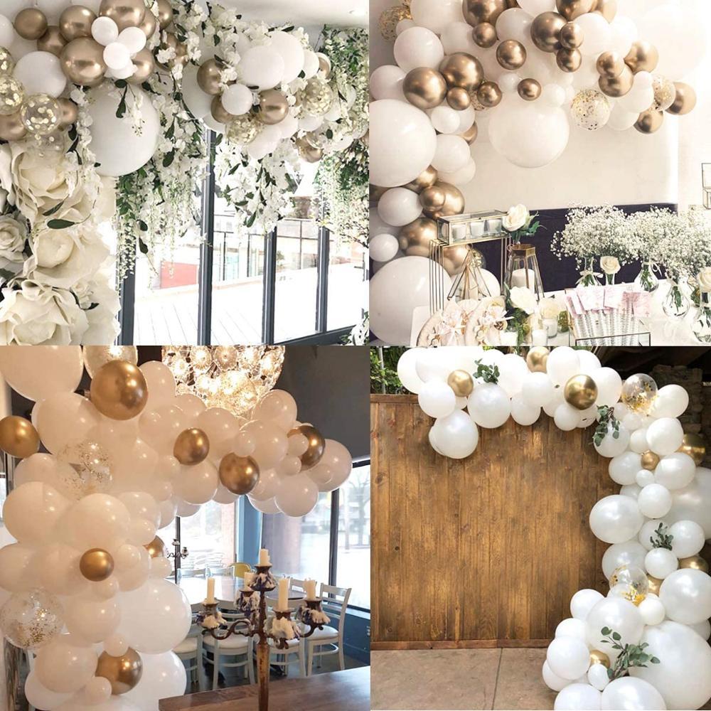 117 pçs balão garland arco kit balões de ouro branco casamento aniversário solteira festa de aniversário pano de fundo decorações diy