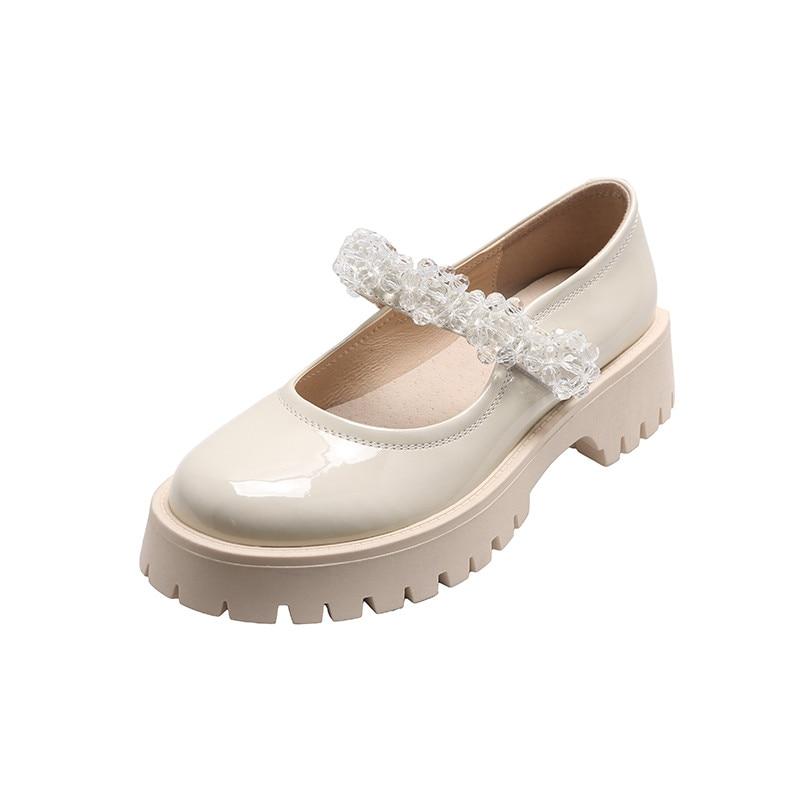 couro patente único sapatos de cristal primavera