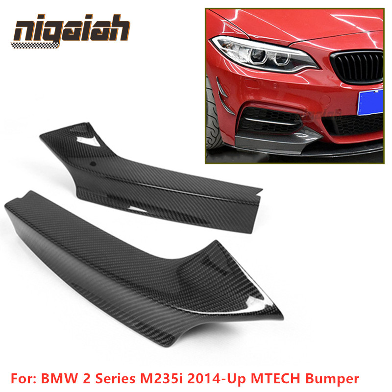 Carbon Fiber Front Splitters For BMW 2 Series M235i 2014-Up MTECH Front Bumper Lip Cupwings Flaps Winglets Front Lower Splitters image
