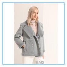KM Woolen mantel kurze neue stil Australische wolle schafe geschert kurze mantel motorrad