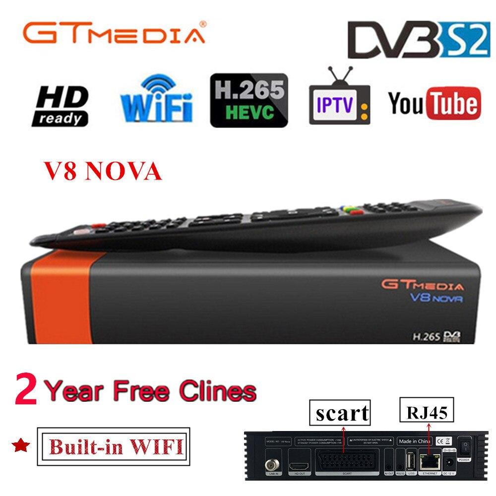 V8 nova receptor de satélite gtmedia v8 nova hd 1080 p europa clines para 2 ano espanha construído wifi dongle v9 super power por v8 super