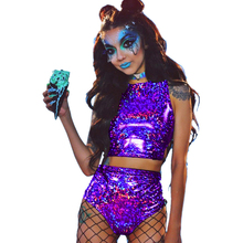 Crop Top And Hot Shorts Outfits 2019 Women Shiny 2 Piece Sets Sexy Lace Up Festival Party Rave Clothing Two Piece Set golden shiny strappy two piece outfits