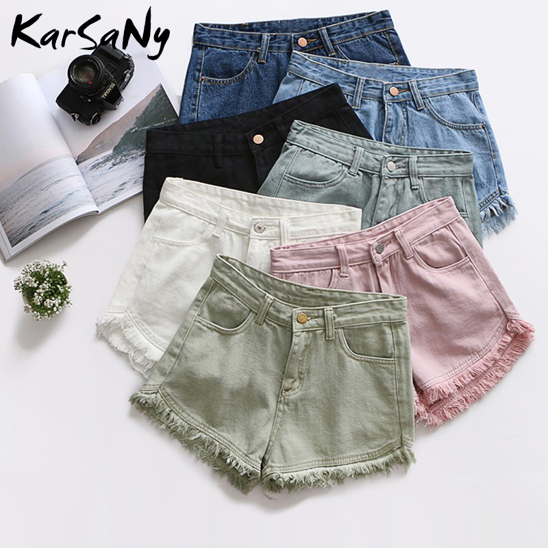 KarSaNy White High Waist Shorts Women Jeans Summer Classic Tassel Denim High Waisted Shorts For Women Short Jeans Feminino Black