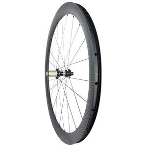 Image 5 - 1360g 700c 42mm asymmetric road disc carbon wheels 25mm U shape clincher tubeless straight pull Novatec D411SB D412SB 6 bolt CL