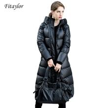 Fitaylor 冬のジャケット女性 白アヒルダウンパーカーダウンジャケット女性のフード付きコート暖かいカジュアル雪生き抜く 90%