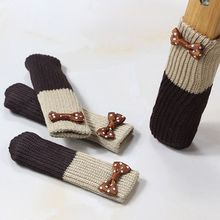 1 шт., милые двухслойные вязаные носки с цветочной аппликацией, на стол, на стул, для ног, защита, с манжетами, с рукавами, эластичные, Нескользящие, одежда