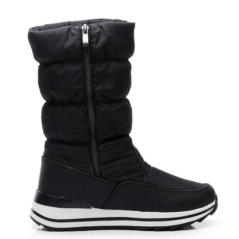 Phụ Nữ Ủng Nền Tảng Mùa Đông Giày Dày Sang Trọng Chống Trượt Chống Thấm Nước Giày Nữ Mùa Đông Giày Lông Ấm Áp Botas Mujer plus Kích Thước