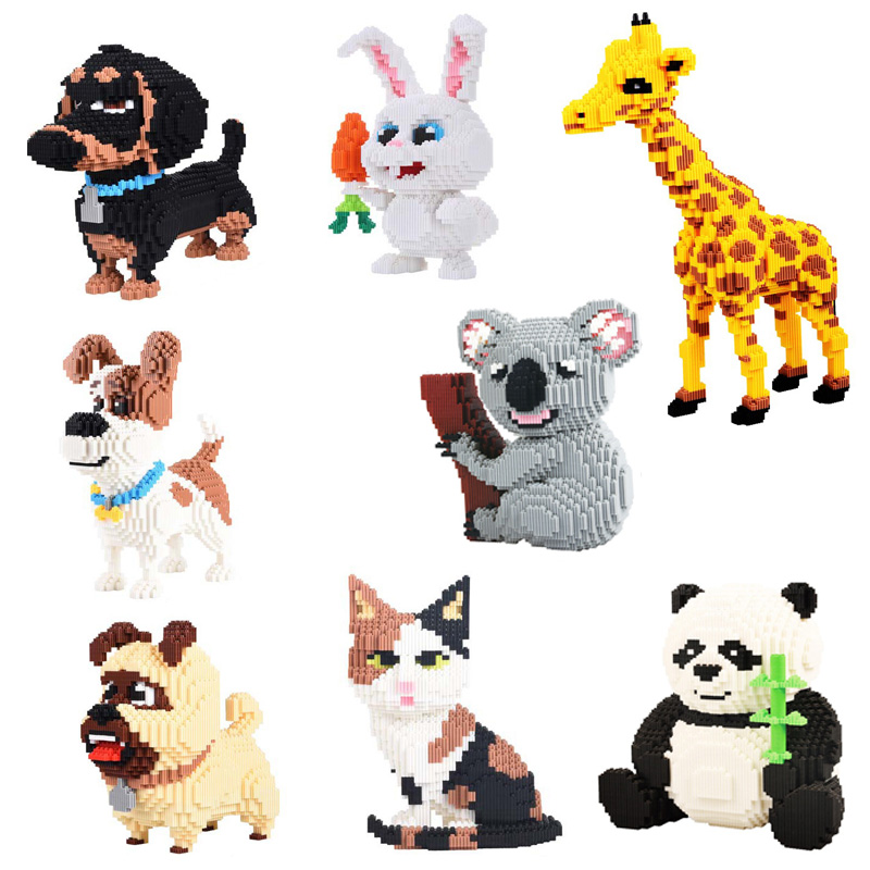 4350pcs+ Cartoon Magic Blocks Animal Koala Dog Panda Figure Giraffe Model Mini Mirco Assembled Building Bricks With Block Toys