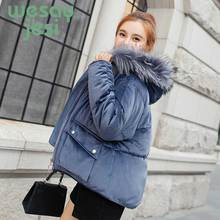 цена на Winter Jacket coat Warm parka Woman Hooded Large Faux Fur Collar Coat fashion cold Thick Warm outwear plus size Coat Women