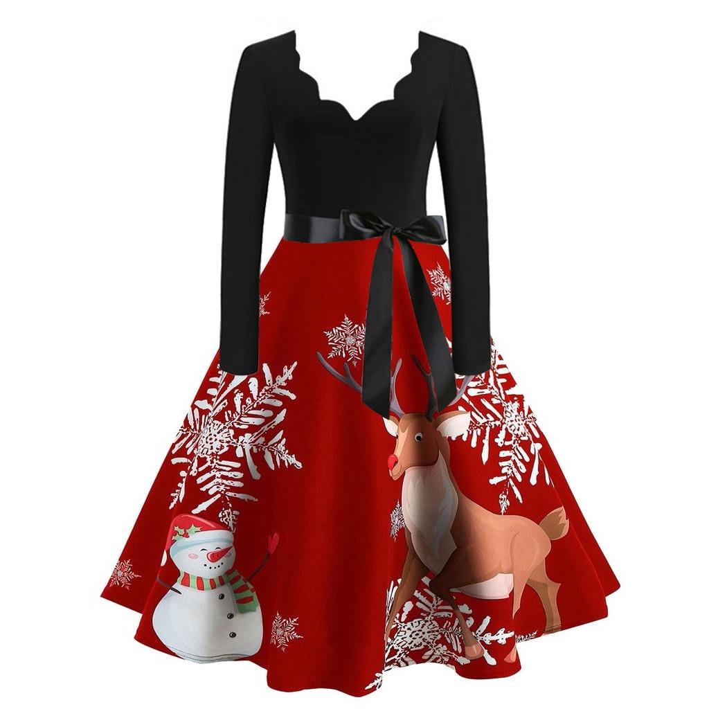 Autumn Women Christmas Dress New Year Festival Long Sleeve Casual vintage Winter Dress платье женское vestidos party dress #D