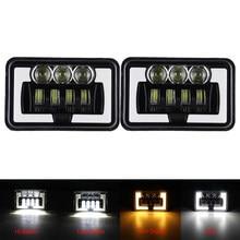 4x6 quadrado lâmpada led farol luz do carro branco halo drl âmbar sinal de volta selado oi/baixo feixe substituição para ford caminhões offroad