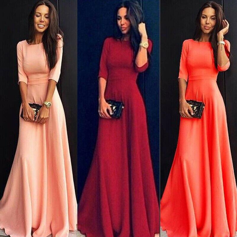 Hirigin Womens Half Sleeve O Neck Solid Color Long Maxi Dress Long Sleeve Evening Party Summer Beach Sundress