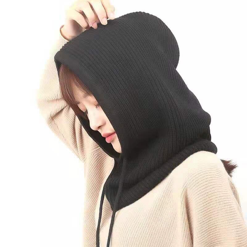 Gorro feminino inverno gorro cashmere feminino malha com capuz cachecol balaclava para mulher à prova de vento quente lã boné