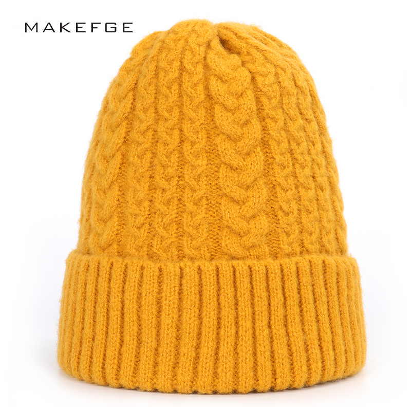 2019 Solid Color Woman Twist Knit Hat Winter Hat Female Peas Innocent Urinal Cap High Quality Cotton Outdoor Leisure Warm Hat