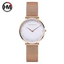 Relojes de movimiento de cuarzo japonés para mujer, de acero inoxidable, oro rosa, resistente al agua, de pulsera
